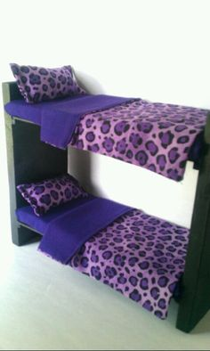 Playscale Furniture for Barbie / Monster High / Bratz - Wooden Bunkbed Set - Purple Leopard