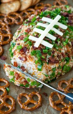 Football party cheese ball - how to make it healthier too