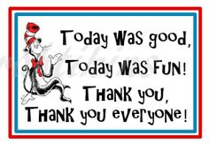 INSTANT DOWNLOAD - DIY Printable Thank You Tags -  Inspired by Dr. Seuss Cat In The Hat - Digital File