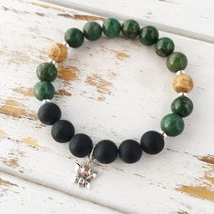 I Am Patient and Grounded Bracelet, African Jade, Matte Black Onyx & Picture Jasper Bracelet - Lotus Charm