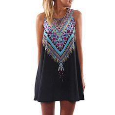 Oferta: 6.99€. Comprar Ofertas de Vovotrade La señora de las mujeres Vestido de verano casual Maxi mini vestido de fiesta noche de impresion (Tamaño M, Negro) barato. ¡Mira las ofertas!