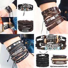 Sea Jewelry, Make A Gift, Braided Leather, Miu Miu Ballet Flats, Handmade Leather, Bracelet Set, Boy Or Girl, Nba, Braids