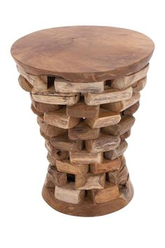 Stacked Teak Wood Side Table | HauteLook