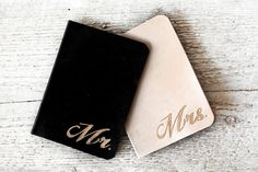 Leather Wedding Gifts  Set of TWO BRIDE and GROOM by Exsect