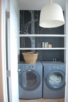 renter's laundry room makeover at The Nesting Place.  Chalkboard paint, shelves, basket light