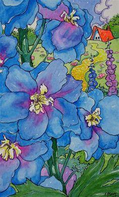 """A Peek Through Blue Delphinium Storybook Cottage Series"" - Original Fine Art for Sale - © Alida Akers"