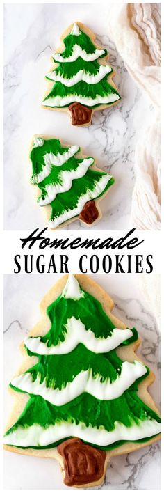 These Christmas Tree Homemade Sugar Cookies are the perfect elegant cookies to make for Christmas. Made with homemade sugar cookie recipe and frosting!
