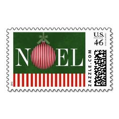 Modern Holiday Postage Stamps NOEL Candy Cane