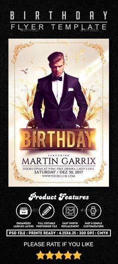 Birthday #Flyer #Template - Clubs & Parties Events Download here:  https://graphicriver.net/item/birthday-flyer-template/19398817?ref=alena994