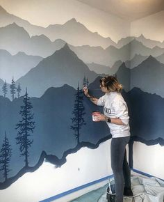 I just know you guys aren't tired of me painting trees yet 🌲 www.woodensens – Gregor Powroznik I just know you guys aren't tired of me painting trees yet 🌲 www.woodensens I just know you guys aren't tired of me painting trees yet 🌲 www. Mountain Mural, Mountain Bedroom, Mountain Nursery, Mountain Decor, Mountain Paintings, Kids Bedroom, Bedroom Decor, Boy Room, My Dream Home