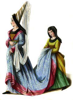 Houpellande faz parte do traje típico do século XV. Aqui representada com cauda e com mangas ajustadas ao corpo. A Houpellande quando usada por mulheres é sempre usada com um cinto por debaixo do busto.