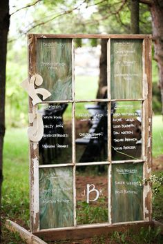 A huge program made of upcycled wood and glass #wedding #diywedding #gardenparty #gardenpartywedding #rusticwedding