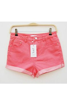 Candy Color Turn-up Cuff Denim Shorts #Romwomen