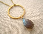 Labradorite and 24K Gold Vermeil Circle Link Necklace