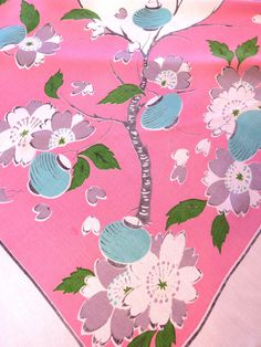 1950s Japanese Lanterns Cherry Blossoms Tablecloth   Aqua Blue Chinese  Lanterns Pink Tablecloth   Asian Oriental