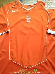 0f8191adc Relive Netherlands  2004 2005 international season with this vintage Nike  home football shirt.