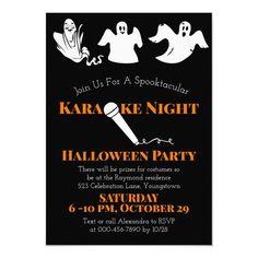 Karaoke Halloween Party Dancing White Ghosts Invitation , #Affiliate, #Dancing#White#Ghosts#Party