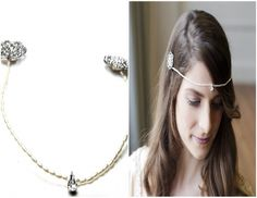 A delicate pearl and diamante bridal headress worn as a foreheadband. A  vintage inspired headress foreheadband hand crafted by Connie and Dolly from THE SWEETPEA COLLECTION called NIAMPH £85 www.connieanddolly.com https://www.etsy.com/uk/shop/ConnieandDolly
