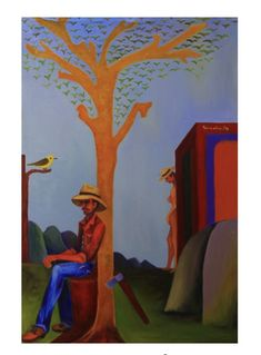 EL REPOSO DEL LEÑADOR or THE WOODCUTTER'S REST is an impressionist artwork by Colombian artist SERVELIO, which explores the fantasies of a working man at rest. Discover more at THEARTMARKET.COM