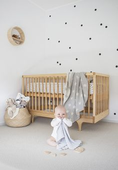 Kate Makehey's little Carter in his scandi & minimalist nursery featuring MORI baby essentials and our nursery throw. Perfect nursery for inspiration and decor ideas.