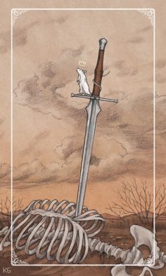 Ace of Swords - from the Ostara Tarot illustrated by Krista Gibbard