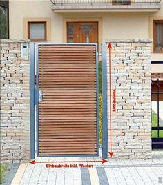 Main Gate Design, Door Gate Design, House Gate Design, Fence Doors, Garden Doors, Fence Gate, Backyard Gates, Backyard Landscaping, Front Gates