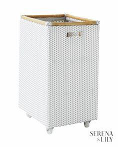 Riviera Rolling Storage - Tall Hamper - Fog - Serena & Lily - Similar To St. Diy Kitchen Storage, Laundry Storage, Laundry Hamper, Storage Baskets, Laundry Room, Rolling Laundry Basket, Woven Bar Stools, Rolling Storage, Bistro Chairs