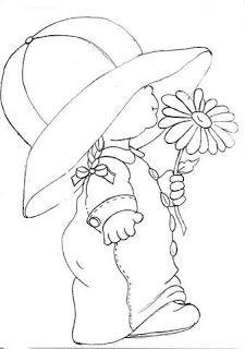 Artes da Nique: Riscos Variados could use as a sun bonnet. Hand Embroidery, Machine Embroidery, Embroidery Designs, Applique Patterns, Quilt Patterns, Sunbonnet Sue, Coloring Book Pages, Digi Stamps, Copics
