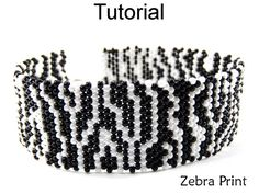 Zebra Print Brick Stitch Beaded Bracelet Beading Pattern Tutorial #6628    This simple beading pattern will easily teach you how to make this