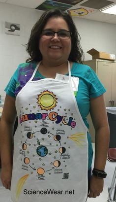 """I created this Lunar Cycle apron in the """"Wearable Science"""" professional development workshop.  The moon cycles glow-in-the-dark.  More information on how to do this project with your entire class at ScienceWear.net"""