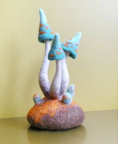 Needle Felted Mushrooms Group of Blue Mushrooms with by IssaFelt