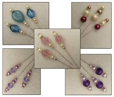 """3"""" Silver Plated Hat / Stick Pins for Card Making - Assorted Colours"""