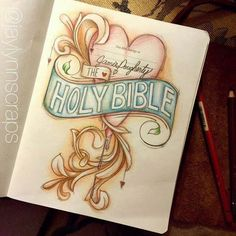 Holy Bible title page. Created by: Jamie Severtson Dougherty Bible Art Journaling, Bible Journaling Bible Drawing, Bible Doodling, Bible Verse Art, Faith Bible, Bible Study Journal, Art Journaling, Scripture Journal, Bible Illustrations, Bible Notes