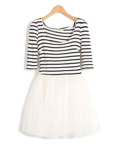 stripe dress tulle skirt; would be totally cute with a red belt