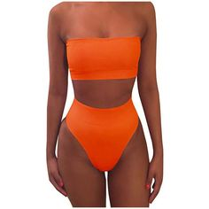 Women's 2 Piece Solid Bandeau Swimsuit Top Bottom Set ($8.99) ❤ liked on Polyvore featuring swimwear, bikinis, orange, swim tops, orange bikini, bandeau swimwear, bandeau swim tops and 2 piece swim wear