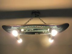 54 Best Creative DIY Hanging Light Fixture Ideas for Your Home - About-Ruth Skateboard Light, Skateboard Room, Skateboard Furniture, Diy Hanging, Hanging Lights, Lampe Decoration, Cloud Lights, Wood Chandelier, Unique Lamps