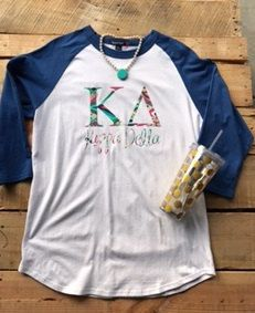 Greek  Sorority Lily Pulitzer Inspired Baseball Jersey with  Letters by HeyYallandCo on Etsy