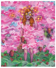 The Beatles Art Print -Lucy in the sky with diamonds/strawberry fields forever