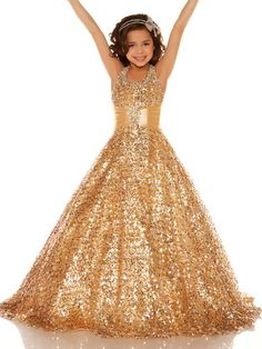 2013 All Over Sequin Sugar gold Pageant Dress Gown Custom Flower Girl Dresses Size 6.8.10.12.14.16 on AliExpress.com. $101.00