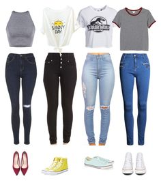 """""""Crop tops and jeans-how to wear them"""" by katrinaharding ❤ liked on Polyvore featuring Topshop, New Look, Monki, Zara and Converse"""