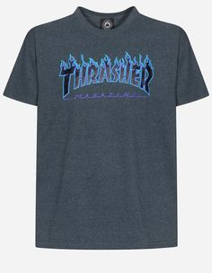 Thrasher - Thrasher Flame Logo T-Shirt dark heather