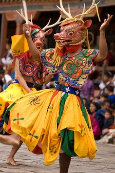The brightly colored masks at the anual Tsechu festivals in Bhutan represent good and evil, and the dancers enact the age-old tale where good always wins. The dances are considered to give merit in the next life to all who see them. Held at the end of August each year.