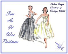 1950s Unused New Butterick 6989 Formal by SewAsItWasPatterns