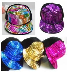 Color rivet punk style hip-hop hat flat brimmed baseball cap(freeshipping)