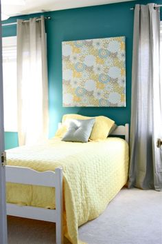 Teal, Yellow and Gray love this! want my bedroom to look like this, summer project i think yes :)