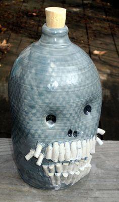 Manytooth Skull Jug Handmade Ceramic Jug by MoonshineJug on Etsy