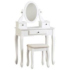 Signature Design by Ashley Furniture White Kaslyn Vanity Table Set Vanity Table Set, Vanity Set, Wooden Vanity, White Vanity, Signature Design, White Wood, Contemporary Style, Home Furniture, Furniture Stores