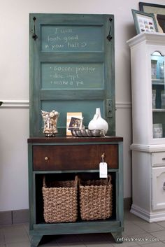 Looking for the perfect entryway catch-all? Attach an old door to a small chest, paint them both in the same color, then add hooks and use sandpaper to create a weathered look. Get the tutorial at Refresh Restyle.   - CountryLiving.com