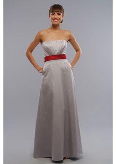 Romantic classical Satin Strapless A-Line long bridesmaid dress