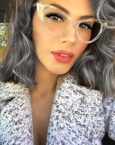 Nikita Vintage Retro Cat Eye Large Frame Pointy Edges Clear Lenses Eyeglasses